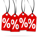 Four hangtags with % signs Stock Photo