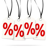 Four hangtags with % signs Royalty Free Stock Photography