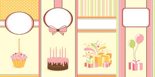 Four happy birthday banners Royalty Free Stock Photos