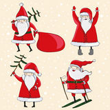 Four happy cartoon Santas. With fur tree and gifts. Vector illustration Royalty Free Stock Images