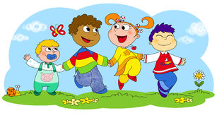 Four happy children. Four children from different races running happily together. Digital illustration Stock Images