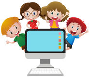 Four happy children behind computer screen. Illustration Stock Images