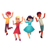 Four happy children, boys and girls, jumping in excitement. Cartoon vector illustrations isolated on white background. Happy, cheerful cartoon style kids Royalty Free Stock Photo