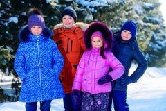 Four happy children stock images