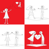 Four happy couples in doodle style Royalty Free Stock Photo