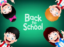 Four Happy and Cute Student Characters Wearing School Bag Royalty Free Stock Photography