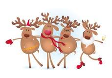 Four happy deers vector illustration
