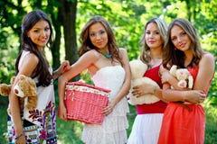 Four happy friends Stock Photo