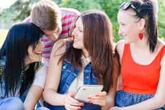 Four happy friends laughing on picture of themselves on summer outdoors background Stock Photo