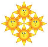 Four happy intertwined suns Stock Photos