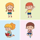 Four happy kids on different backgrounds royalty free illustration