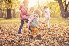 Four little girls in nature. stock images