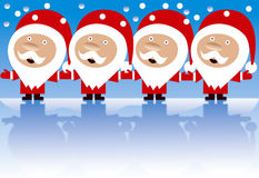 Four happy Santas holding hands isolated. Four happy Santa Claus singing and holding hands on blue background with snow and reflections in ice Stock Image