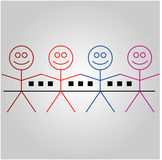 Four happy stick figures with house Royalty Free Stock Photo