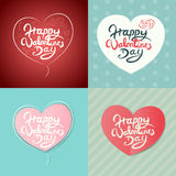 Four Happy Valentines Day Hand Drawn Lettering Vector Design Stock Images