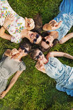 Four happy women wearing trendy sunglasses Royalty Free Stock Photography