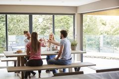 Four happy young adult friends celebrating raise wine glasses during a dinner party, back view royalty free stock image