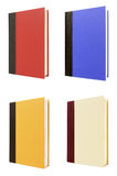 Four vertical hardback books front cover isolated on white background Royalty Free Stock Photos