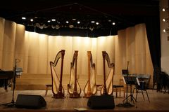 Four harps on stage