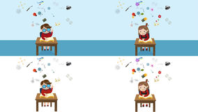 Four HD cartoon animation multi screen set of boy and girl student reading education book stock video footage