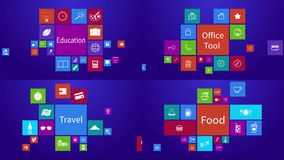 Four HD screen of trendy computer or mobile application app program animation icon stock video