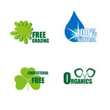 Four healthy food labels. Four healthy and organic food labels Royalty Free Stock Images