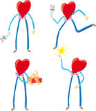Four heart characters Stock Images
