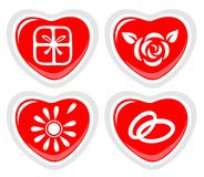 Four heart icons Stock Images