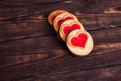 Four heart-shaped cookie Stock Photo