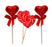 Four heart shaped Lollipops Stock Image