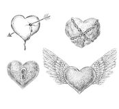 Four hearts Stock Images
