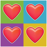 Four hearts Stock Photography