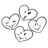 Four hearts. Four smiling black and white heart emoticons royalty free illustration