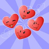Four hearts. Four smiling red heart emoticons against a background vector illustration