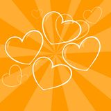 Four hearts. Four smiling heart emoticons against a background Royalty Free Stock Photography