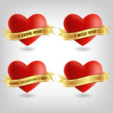 Four red hearts and banners Royalty Free Stock Image