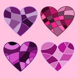 Four hearts. Bright hearts in stained glass style Royalty Free Stock Images