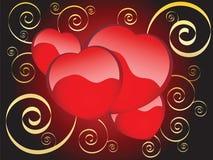 Four hearts on a dark background Stock Photos