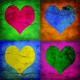 Four hearts with diferent colors Stock Photo