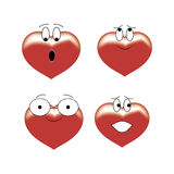 Four hearts expressive Royalty Free Stock Photos