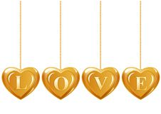 Four hearts with gems Stock Photo