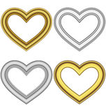 Four hearts love frames isolated on white Royalty Free Stock Image