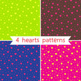 Four hearts patterns Royalty Free Stock Image