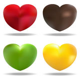 Four hearts. Vector illustration of four hearts (red, green , brown, yellow Royalty Free Stock Photography