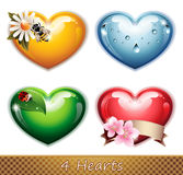 Four Hearts Stock Photo