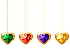 Four Hearts With Gems Royalty Free Stock Photo