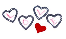 Four hearts with word love Stock Image