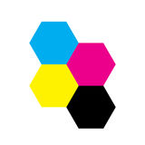 Four hexagons in CMYK colors. Printer theme. Vector illustration.  Stock Images