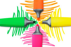 Four Highlighter Pens Stock Image