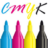 Four highlighters CMYK Stock Images